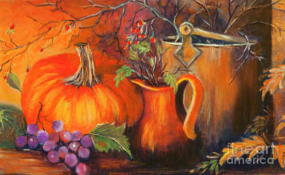 Painting - Pumpkin And The Old Bucket by Pati Pelz