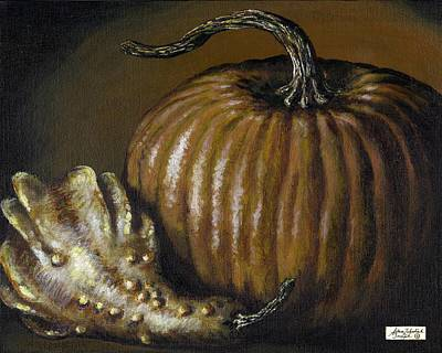 Interior Still Life Painting - Pumpkin And Winged Gourd by Adam Zebediah Joseph
