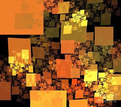 Digital Art - Pumpkin Autumn Cubes by Kim Sy Ok
