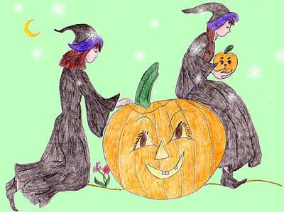 Thomas Kinkade Rights Managed Images - Pumpkin Caretakers Royalty-Free Image by Rosalie Scanlon
