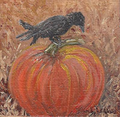 Pumpkin Crow Art Print