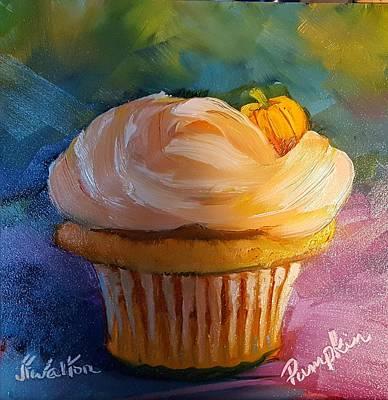 Painting - Pumpkin Cupcake by Judy Fischer Walton