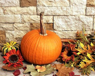 Photograph - Pumpkin Fall Decor by Sheila Brown