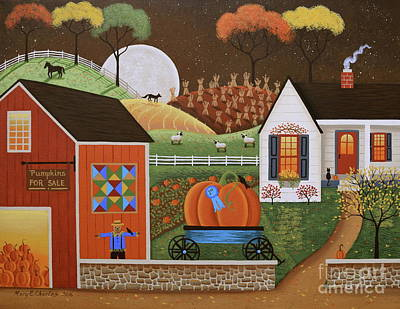 Pumpkins Painting - Pumpkin Farm by Mary Charles