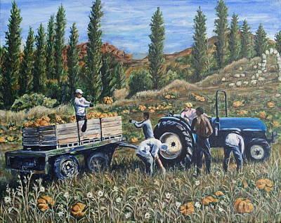 Pumpkin Gatherers In Provence Original by Bonnie Peacher