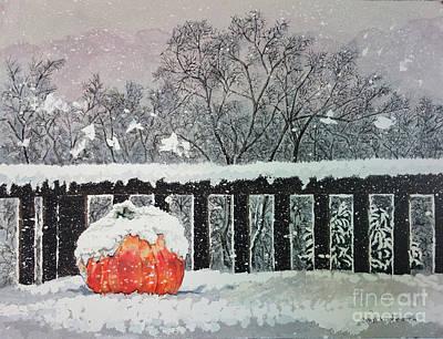 Picking Pumpkins Painting - Pumpkin In The Snow by Cathy Klopfenstein