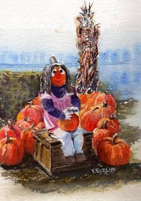 Cornstalks Painting - Pumpkin Lady by Katherine  Berlin