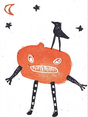 Creepy Mixed Media - Pumpkin Man And Crow by Coralette Damme