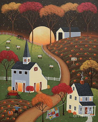 Covered Bridge Painting - Pumpkin Moon by Mary Charles