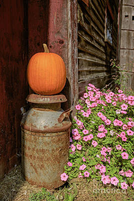 Photograph - Pumpkin On An Old Milk Can by Edward Fielding