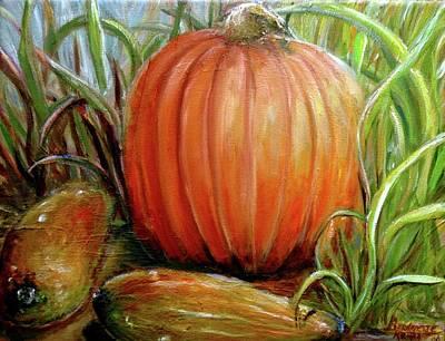 Art Print featuring the painting Pumpkin Patch  by Bernadette Krupa