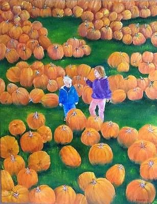 Painting - Pumpkin Patch by Ellen Canfield