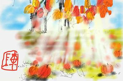 Digital Art - Pumpkin Patch Morning by Debbi Saccomanno Chan