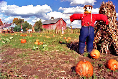 Photograph - Pumpkin Patch Scarecrow by Allen Beatty