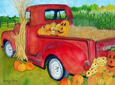 Painting - Pumpkin Pickup by Carolyn Koup