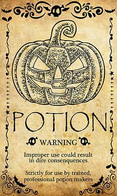 Pumpkin Art Card Mixed Media - Pumpkin Potion by Long Shot