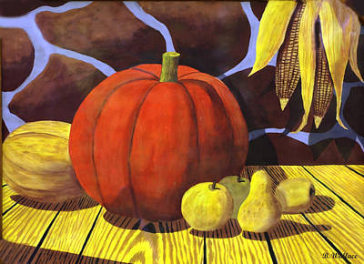 2d Painting - Pumpkin Still Life - Homage To Jon Gnagy by Brian Wallace