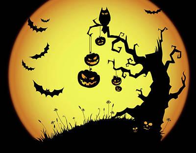 Night Owl Mixed Media - Pumpkin Tree by Marilu Windvand