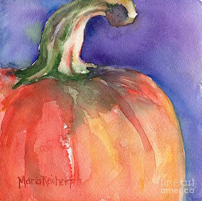 Pumpkin Watercolor Painting Art Print by Maria's Watercolor