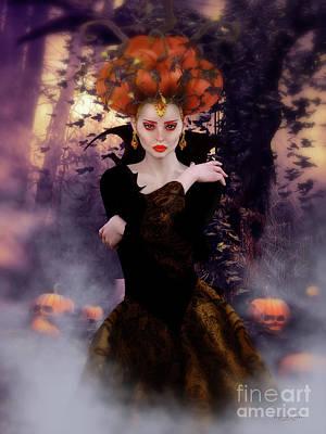 Halloween Digital Art - Pumpkin Witch by Shanina Conway