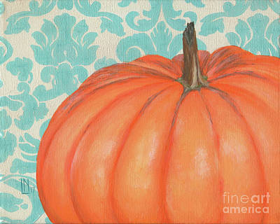 Painting - Pumpkin With Damask by Lisa Norris