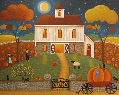 Pumpkins Painting - Pumpkinland by Mary Charles