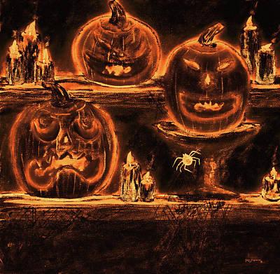 Haunted House Mixed Media - Pumpkins A Glow by Ken Figurski