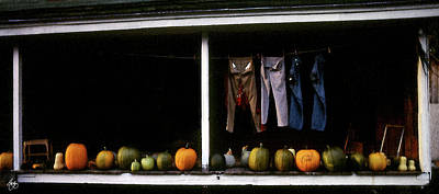 Photograph - Pumpkins And A Washline by Wayne King