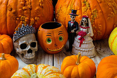Pumpkins And Bride And Groom Art Print by Garry Gay