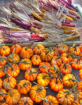 Photograph - Pumpkins And Indian Corn by David Bearden