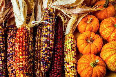 Photograph - Pumpkins And Indian Corn by Garry Gay