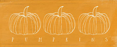 Mixed Media Rights Managed Images - Pumpkins- Art by Linda Woods Royalty-Free Image by Linda Woods