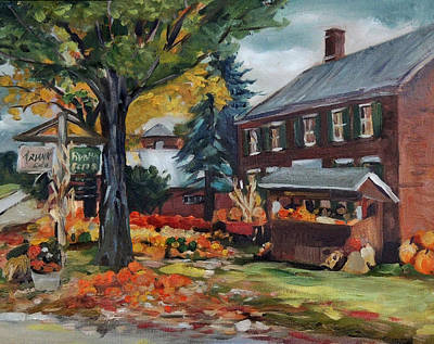 Painting - Pumpkins At Bunten Farm Plein Air by Nancy Griswold