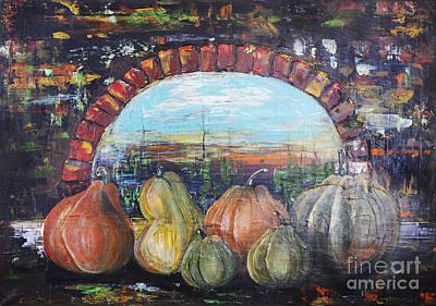Haunted Castle Painting - Pumpkins For Halloween by Irina Gromovaja
