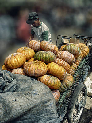 Art Print featuring the photograph Pumpkins In The Cart  by Charuhas Images