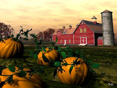 Digital Art - Pumpkins by John Pangia