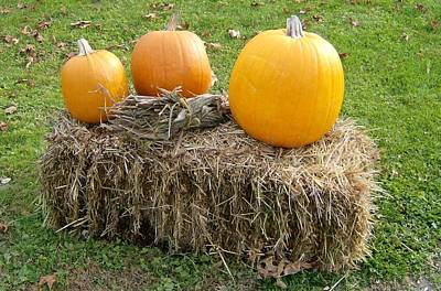 Pumpkins On A Haystack Art Print