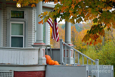 Pumpkins On A Vermont Porch Art Print by Catherine Sherman