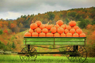 Photograph - Pumpkins On A Wagon by Jaki Miller