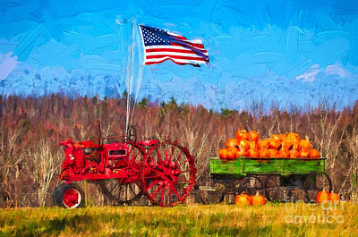 Photograph - Pumpkins On A Wagon by Les Palenik
