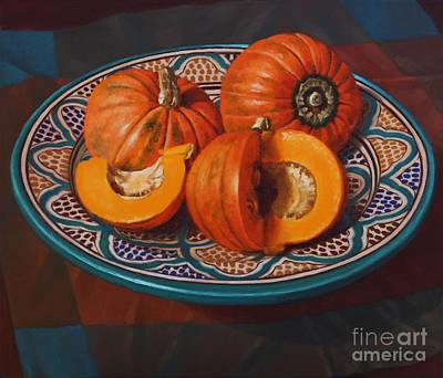 Pottery Painting - Pumpkins On Moroccan Platter by Fiona Craig