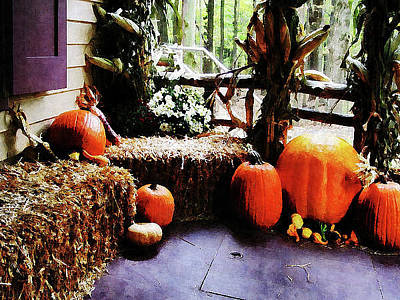 Photograph - Pumpkins On Porch by Susan Savad