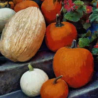 Digital Art - Pumpkins On The Steps by Patricia Strand