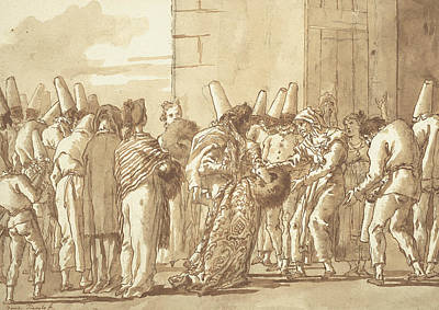Drawing - Punchinello's Father Brings Home His Bride by Giovanni Battista Tiepolo