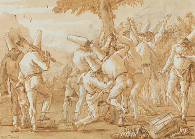 Drawing - Punchinellos Felling A Tree by Giovanni Domenico Tiepolo