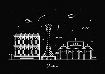 Drawing - Pune Skyline Travel Poster by Inspirowl Design