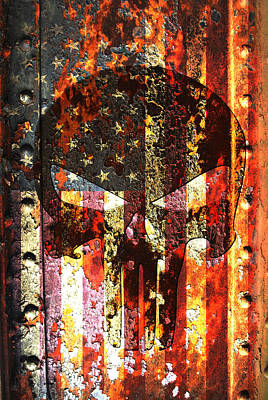 Digital Art - Punisher Skull On Rusted American Flag by M L C
