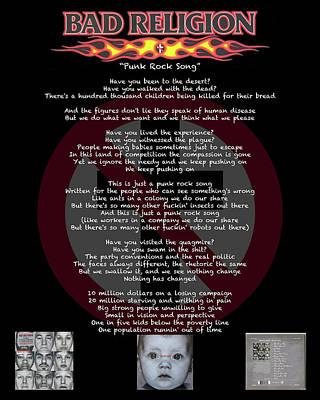 Digital Art - Punk Rock Song - Bad Religion by Bruce