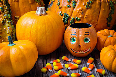 Candy Corn Photograph - Punkin Face And Candy Corn by Garry Gay