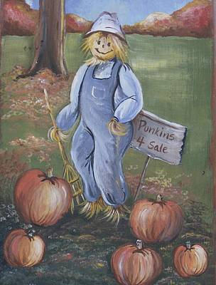 Art Print featuring the painting Punkins For Sale by Leslie Manley